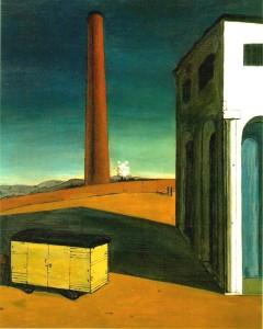 L'angoisse du départ de Giorgio De Chirico. Avec cette étrange envie d'entrer dans le décor pour voir au-delà d'un tournant... ou pousser aller vers cette étrange cheminée.